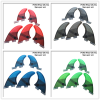 Prancha fcs2 g5 + gl aletas preto/azul/vermelho/verde cor favo de mel fibra de vidro fin tri-quad fin conjunto