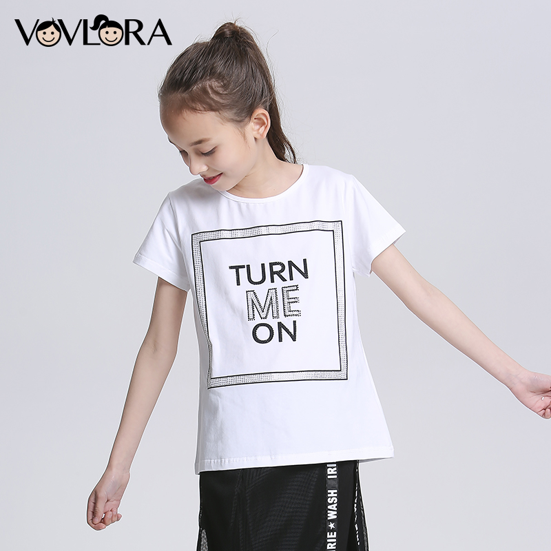Cotton Print Letter Summer Girls T Shirt Tops Knitted O Neck Solid Kids T Shirts 2018 Children Tees Size 9 10 11 12 13 14 Years mudkingd boys girls super soft fleece base shirt tees tops children t shirts solid turtleneck sweatshirts kids clothes blusas