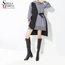 2020 Korean Style Women Autumn Winter Gray Patchwork Hooded Mini Dress & Sashes Long Sleeve Lady Stylish Casual Dress Robe 7204