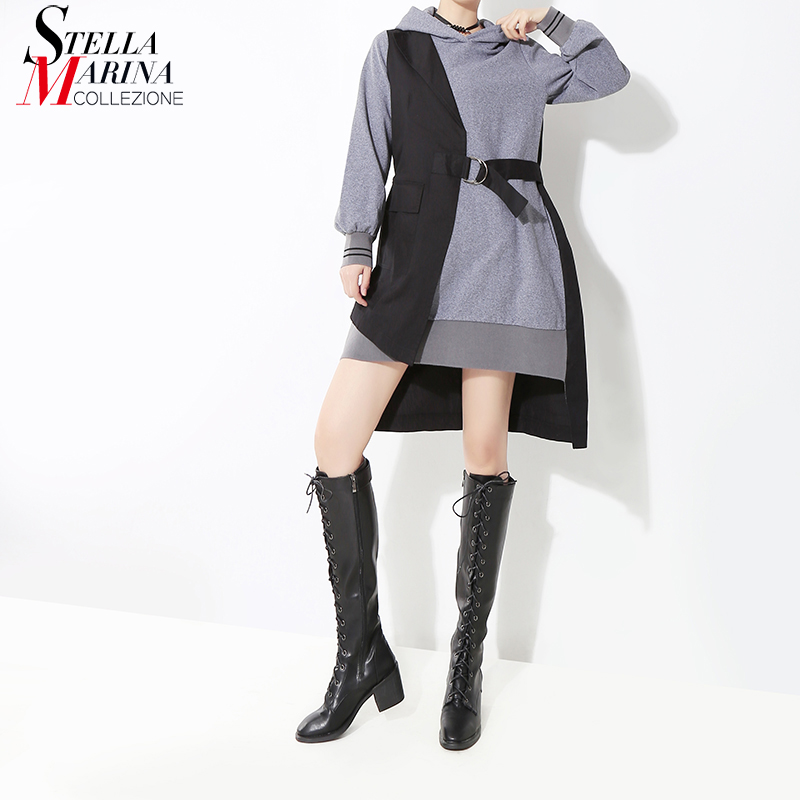 New 2019 Korean Style Women Autumn Winter Black Patchwork Hooded Mini Dress & Sashes Long Sleeve Lady Stylish Casual Dress 7204