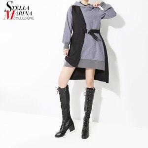 Image 1 - Nouveau 2019 Style coréen femmes automne hiver noir Patchwork à capuche Mini robe et ceintures à manches longues dame élégant tenue décontractée 7204