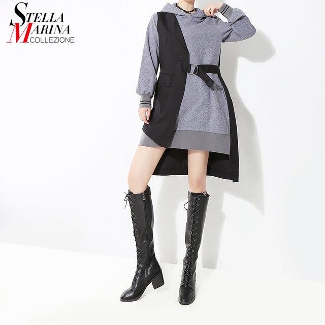 Nouveau 2019 Style coréen femmes automne hiver noir Patchwork à capuche Mini robe et ceintures à manches longues dame élégant tenue décontractée 7204
