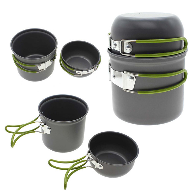 9feece16d33 Nonstick Outdoor Cookware Set Portable Pot Bowl Kit Camping Picnic Supplies  for 2-3 People Kitchen Cooking Tools Accessories
