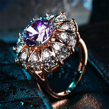ZHE FAN AAA Luxury Purple Cubic Zirconia Big Ring Rose Gold Color Plated Party Jewelry For Women Violet Christmas Gift Wholesale