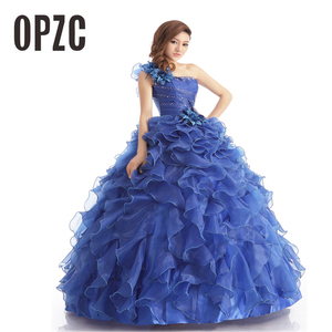 Image 1 - 저렴한 블루 컬러 Strapless 구슬 장식 웨딩 드레스 2020 한국어 여성 미술 시험 가운 부분 드레스 Vestidos 드 Novia
