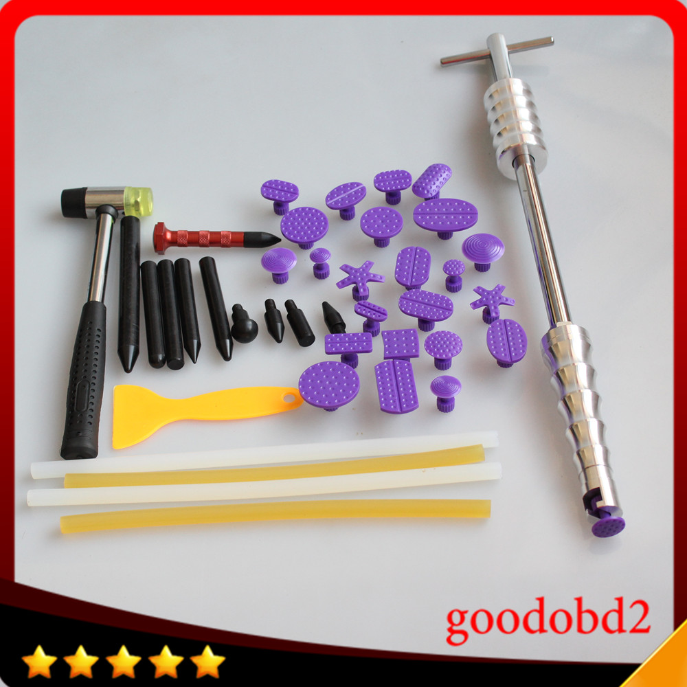 ФОТО PDR Tools Kit Dent Removal Paintless Repair Tools 2 in 1 Slide Hammer 24x Dent Puller Removal Tools Glue Tabs with Rubber hammer
