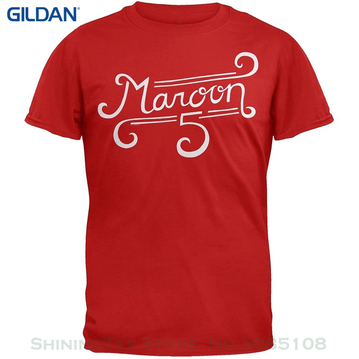 GILDAN New Arrival Male Tees Casual Boy T-shirt Tops Discounts Maroon 5 - Curl Logo Soft T-shirt