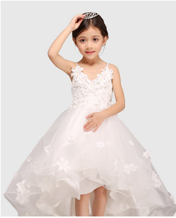 Glitz White Spaghetti Straps Princess Flower Girl Dress For Weddings Girls Party Pageant Dress With Long Train For Baby Girls spaghetti strap chiffon open back dress