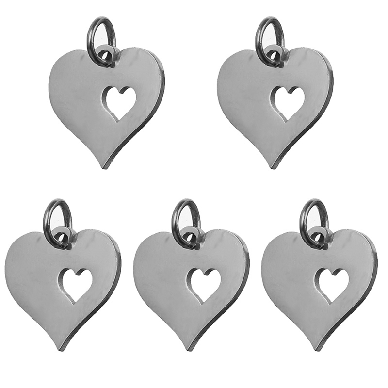5pcs/set Heart Shape Pendants Stainless Steel Necklace Bracelet DIY Jewelry Making Findings Accessories Gold Silver Rose Gold