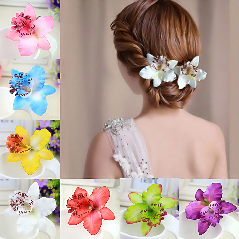 1PC New Fake Butterfly Orchid Handmade Fashion Gift Flowers Women Bride Hair Clips Sand Beach Thailand Romance Style Wedding