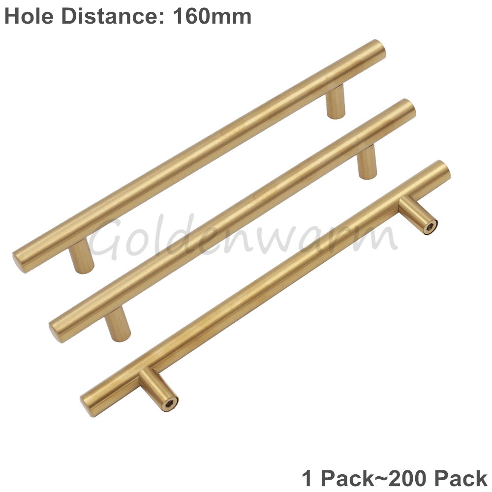 Gold Brushed Brass Cabinet Handles T Bar Modern Cupboard Kitchen Closet Door knob Drawer Pulls Hole Center 6-1/4 inch 128mm brushed stainless steel furniture handles kitchen pull handles closet door knob modern square bar cupboard handle knobs