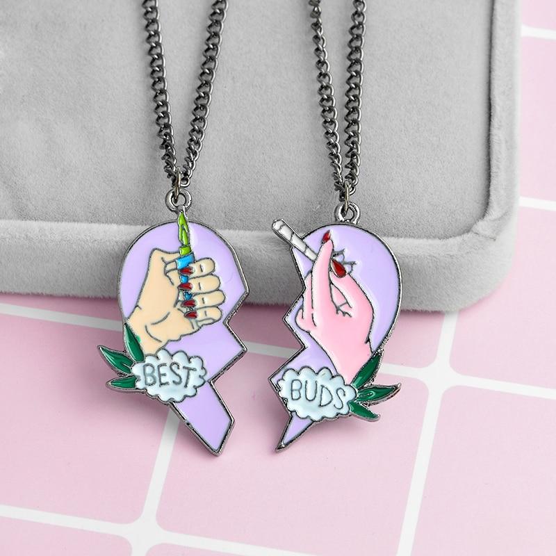 Collier en forme de cœur pour les meilleurs amis, meilleurs bourgeons, cigarettes et briquets, collier à pendentif en forme de cœur bijoux BFF