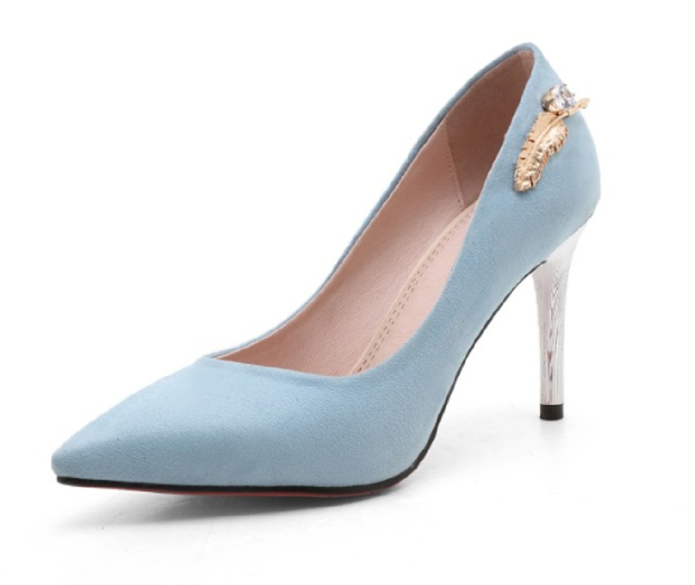 New arrival 2017 velvet high heel woman shoes female pointed toe shallow thin heels women's pumps black blue party ladies shoes
