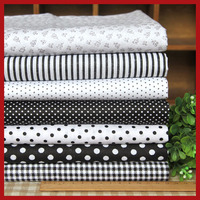 Black 7 Assorted Pre Cut Twill Cotton Quality Quilt Fabric Fat Quarter Tissue Bundle Charm Sewing