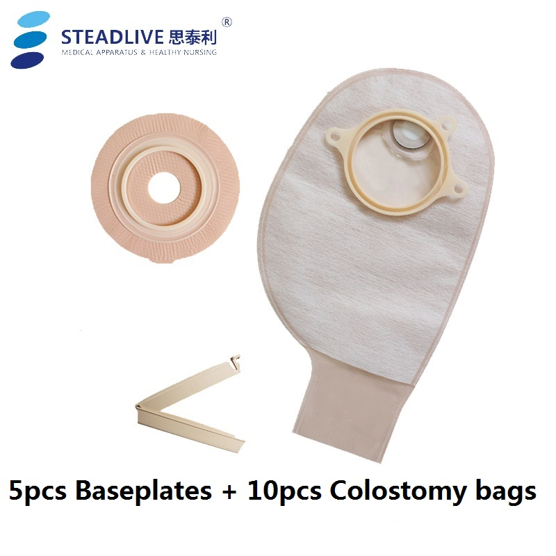 Durable Two piece Colostomy System Drainage 10pcs Colostomy Bag 5pc Baseplate Stoma Care bags with Carbon