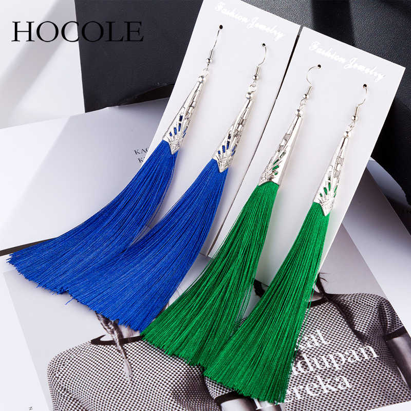 2018 Bohemian Geometric Alloy Charm Tassel Earring Red Blue 9 Colors Fringed Long Drop Brincos For Women Wedding Bridal Jewelry