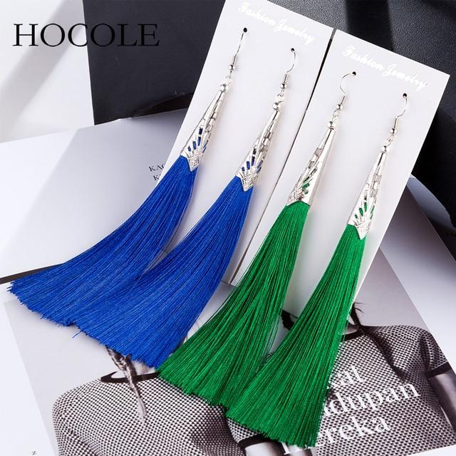 2018 Bohemian Geometric Alloy Charm Tassel Earring Red Blue 9 Colors Fringed Long Drop Brincos For Women Wedding Bridal Jewelry