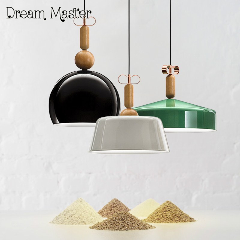 Nordic modern minimalist single head solid wood chandelier bedroom restaurant bar creative personality iron color pendant lamp