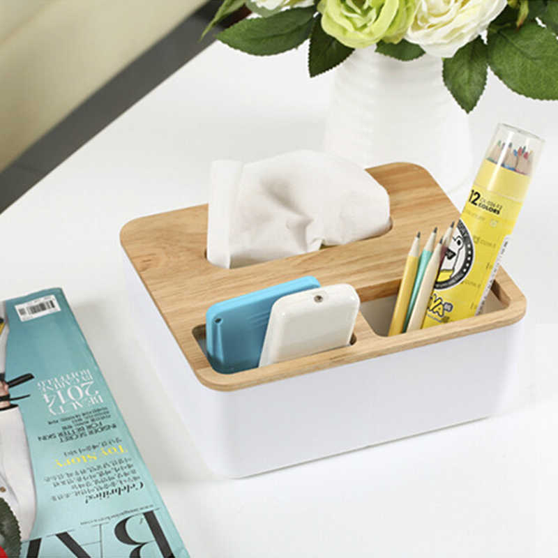 Creative Wooden Tissue Box Modern Oak Pumping Storage Box