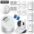 KERUI Android IOS app control remoto WIFI GSM PSTN tres en uno sistema de alarma de seguridad para el hogar alarma gsm de alta calidad sistema de