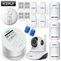 KERUI Android IOS app fernbedienung WIFI GSM PSTN drei in einem home security alarm system hohe qualität gsm alarm system
