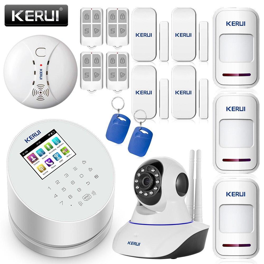 Kerui android ios app controle remoto wifi gsm pstn três em um sistema de alarme de segurança em casa alta qualidade gsm sistema de alarme