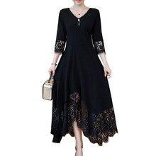 L 5xl שחור סתיו נשים אלגנטי בתוספת גודל תחרה תפרים חצי שרוול תחרה למעלה חזרה מסיבת קוקטייל ארוך שמלות Vestidos לונגו 950
