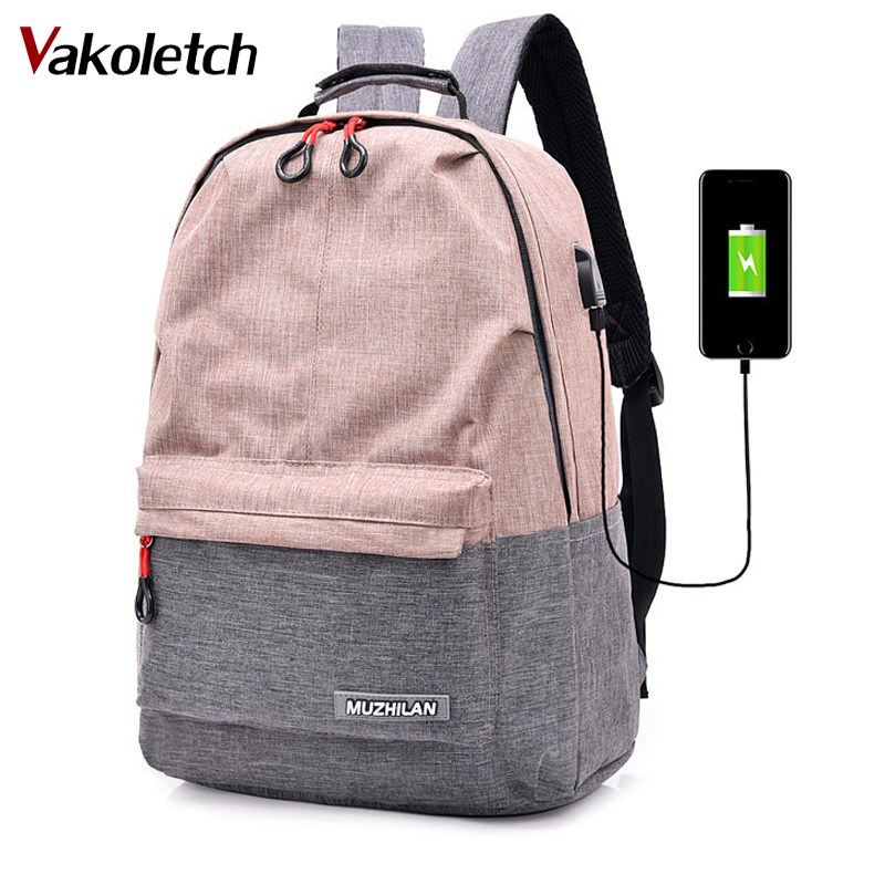 Backpacks For Men Back Pack For School Bag Bagpack Women College Canvas Backpack Usb Charger Charging Schoolbag For Laptop KL552