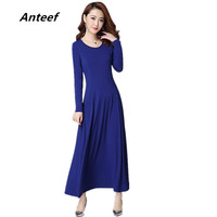 New Fashion Plus Size Women Casual Maxi Long Summer Autumn Dress Party Vestidos Femininos 2016 Dresses