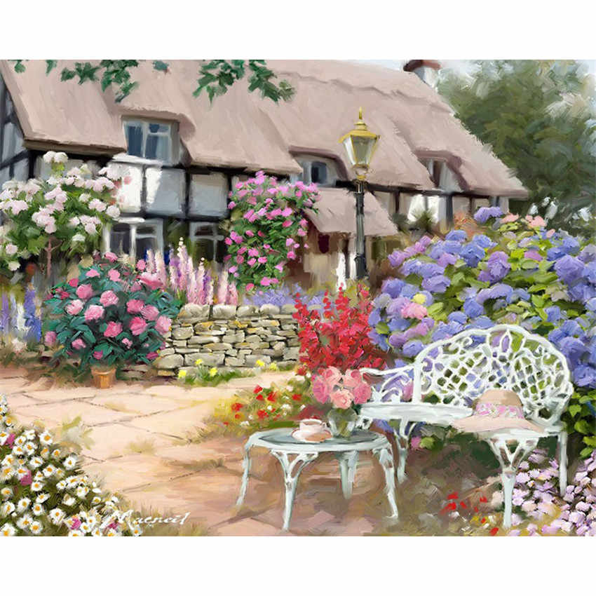 DIY Digital Painting By Numbers Package Garden courtyard oil painting mural Kits Coloring Wall Art Picture Gift frameless