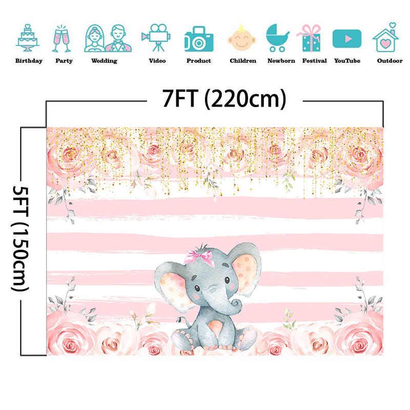 Kız fil fotoğraf arka fonu pembe ve beyaz şerit doğum günü çiçek arka planında fil bebek duş kek masa dekorasyon afiş