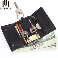 MISFITS Vintage Key Holder 100% Leather Wallet Male Coin Purse Unisex Solid Men Key Holder Organizer Housekeeper Car Key Bag