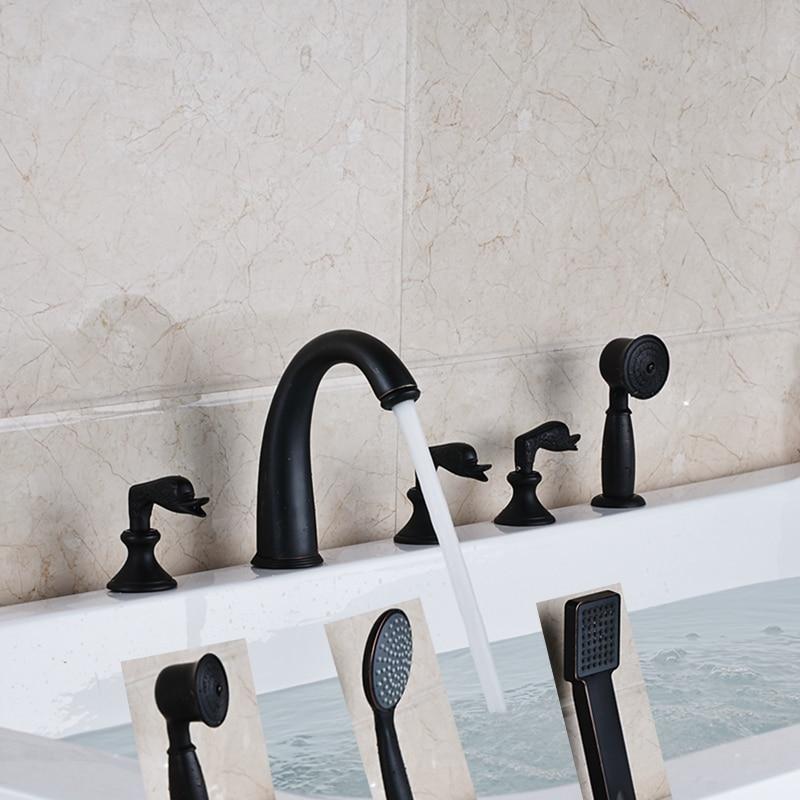 Widespread Oil Rubbed Bronze Bathroom Tub Faucet W/ Hand Shower Sprayer Mixer