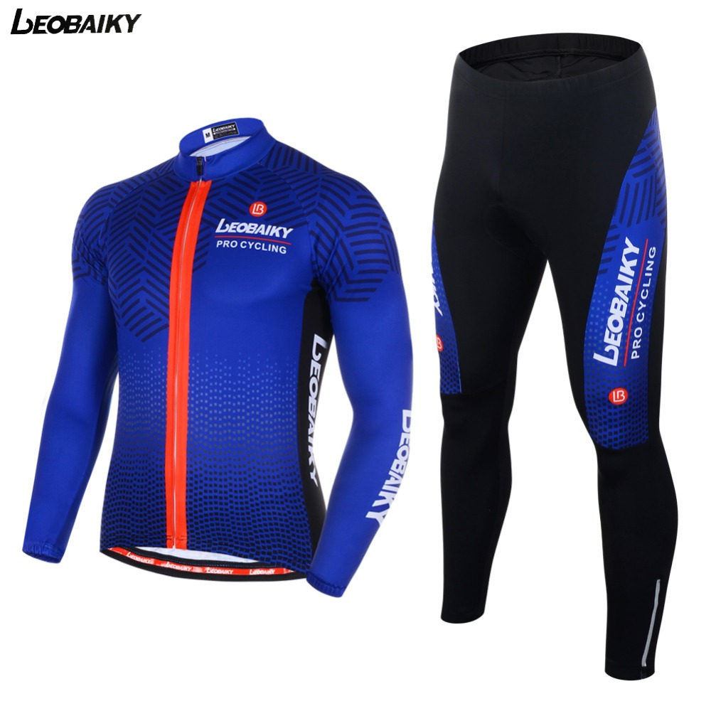 LEOBAIKY 2017 Team Pro Autumn Cycling Wear Suit Warmer Keep Long Sleeve MTB Ciclismo Jersey Breathable Bicycle Jacket Pants Set цена