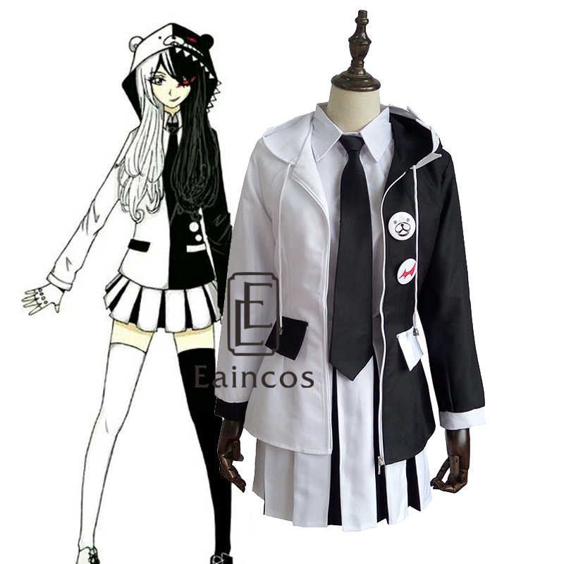 Anime Danganronpa2 Monokuma Personification Uniform Cosplay Party Costume Girls Dress Full Set