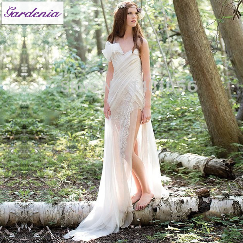 romantic beach chiffon bohemian wedding dress with lace tiered china bridal gowns vestidos de bridal dress short front long back in wedding dresses from