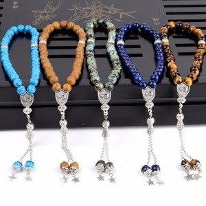 Image 2 - סיטונאי גברים מחרוזת צמיד 33 תפילת חרוזים טבעי אבן עגול לפיס לזולי עין נמר חרוזים Tasbih עבור נשים תכשיטים בעבודת יד