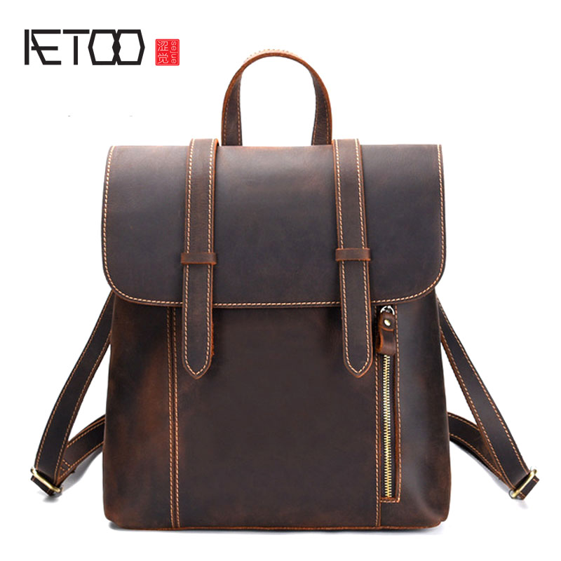 AETOO New men's bag retro crazy horse leather men's shoulder bag first layer leather backpack leather travel backpack aetoo spring and summer new leather handmade handmade first layer of planted tanned leather retro bag backpack bag