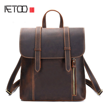 AETOO New men's bag retro crazy horse leather men's shoulder bag first layer leather backpack leather travel backpack