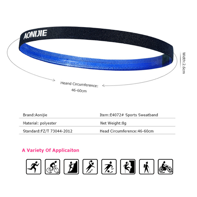 Aonijie Sports Headband Unisex Running Yoga Non-slip Silicone Belt Sweat-absorbent Headband Sweat Guide Belt Antiperspirant 1