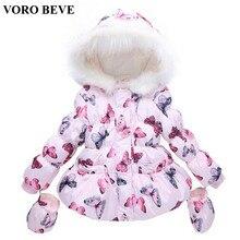VORO BEVE Nouvelle hiver filles hiver veste de coton-rembourré enfants manteau à capuche papillon bébé fille outwear Chaud vêtements