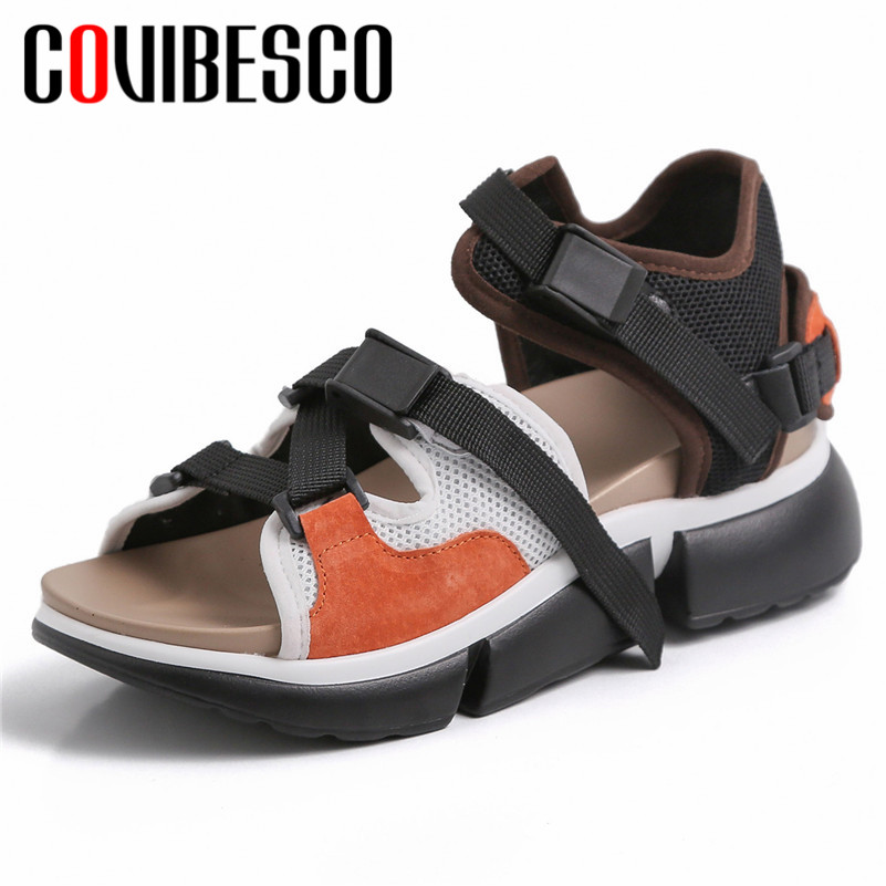 COVIBESCO Rome Round Toe Platforms Women Flats Comfortable Breathable Women Sandals Sneakers Mixed Colors Casual Shoes Woman