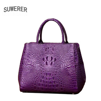 SUWERER 2020 New Superior cowhide women genuine leather bags crocodile pattern Fashion famous brand luxury leather tote bag