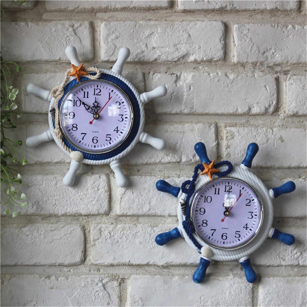 مستديرة الرجعية الخشب البحر الأبيض المتوسط على غرار الدفة مرساة سات إبرة ساعة الحائط معلقة ساعة حائط المنزل الديكور