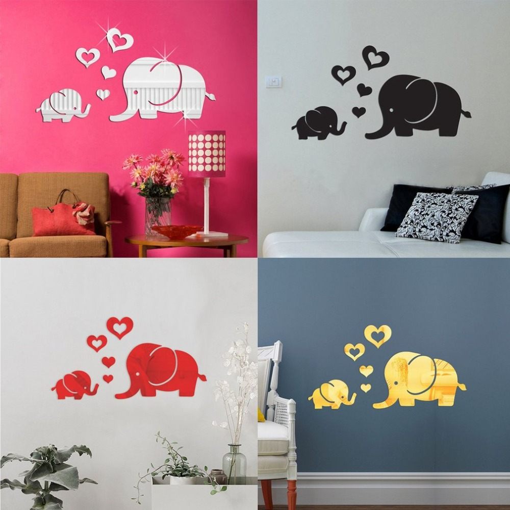 Elephant Wall Sticker Mirror Decoration Art DIY House Decoration Wall  Mirror Acrylic Wall Stickers Decal Wall New Family Decals