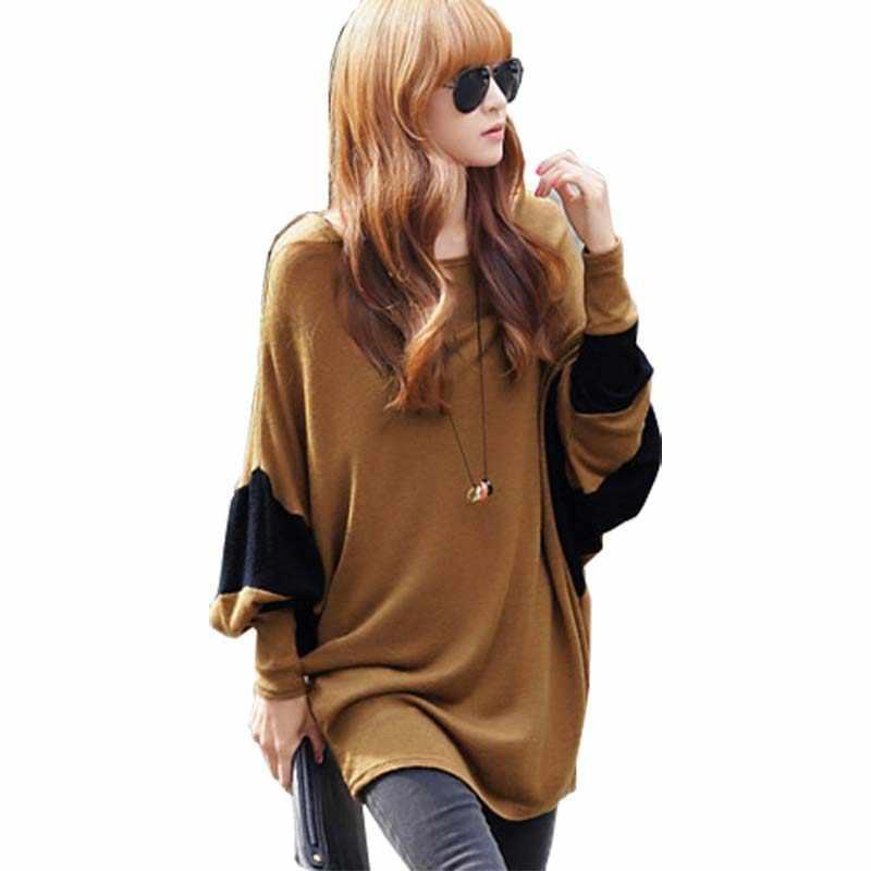 Tシャツの女性2016秋kintted王女女性のoネック長袖tシャツ女性の中期長い緩いvestidos gz288