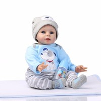 NPK Doll Collector Soft Silicone Lifelike Baby Reborn 22'' 55 cm Babies Doll Toys Realistic Smile Newborn Baby Dolls Boy bebe