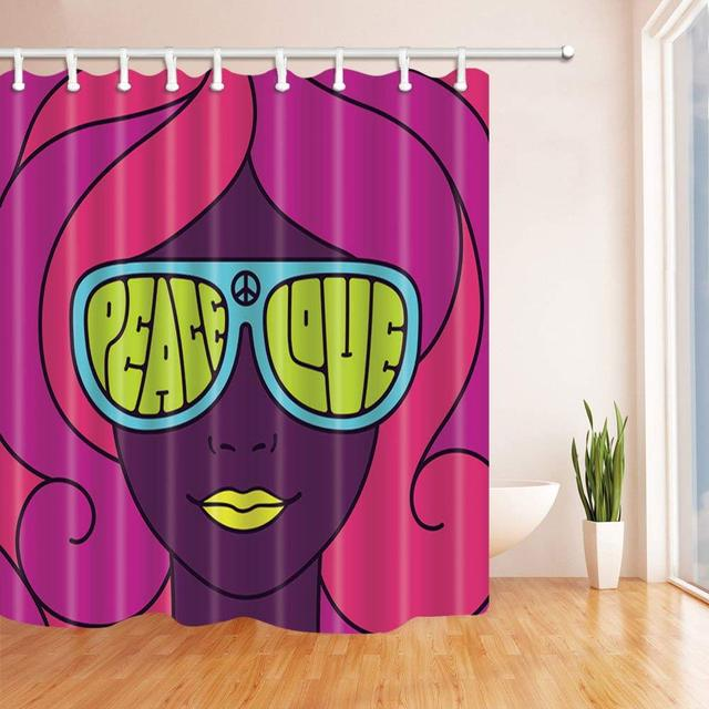 Pretty Girl In Neon Colors Bath Curtain Polyester Fabric Waterproof Shower Curtains Hooks Included