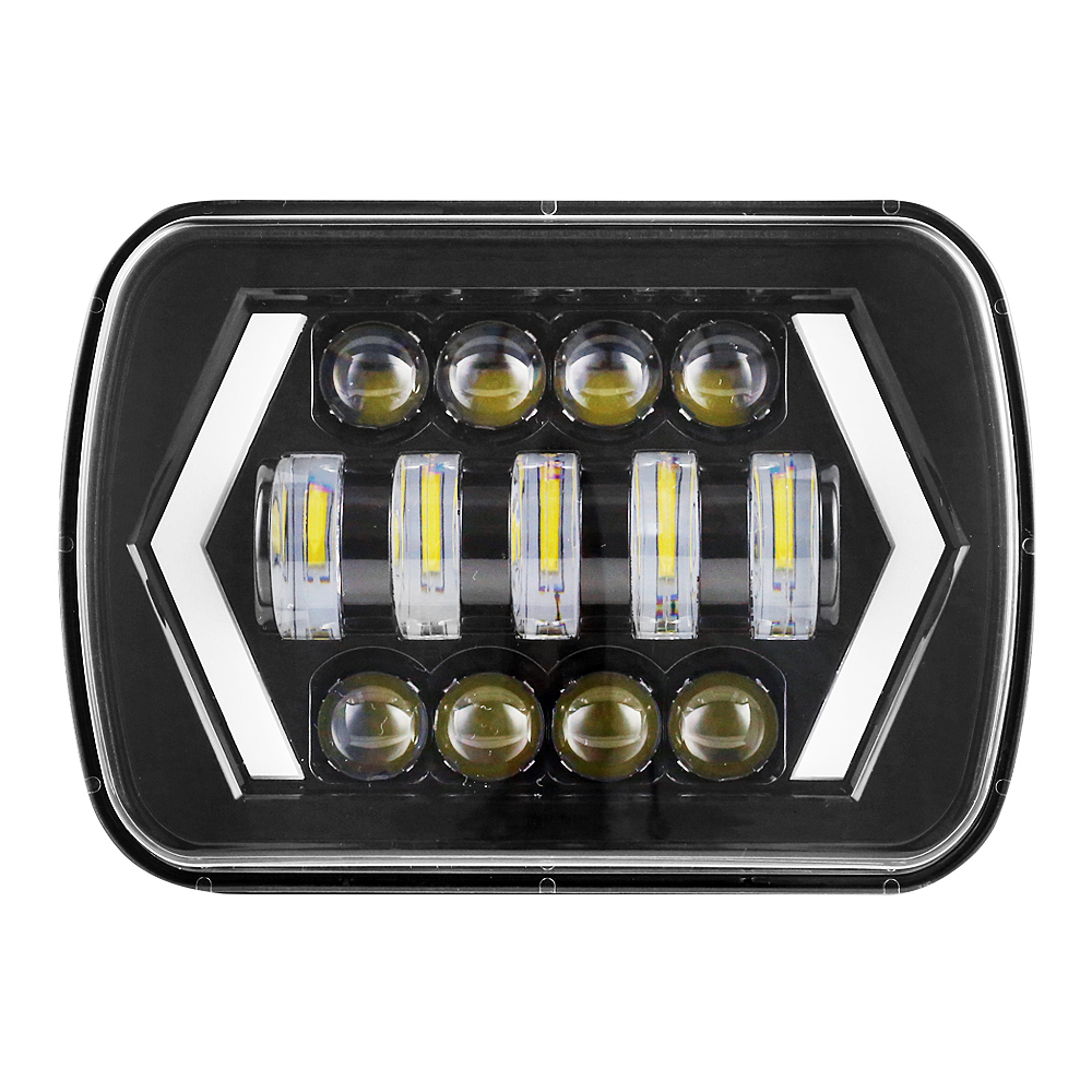 A Pair 5x7 7x6 Inch Angel Eyes DRL H4 LED Square Headlights For Jeep Wrangler YJ Cherokee XJ Comanche MJ Led Rectangle Headlamp pair led 5 x 7 led headlight replacement for jeep cherokee xj trucks headlights hid light drl amber turn signal for comanche page 3 page 8 page 9