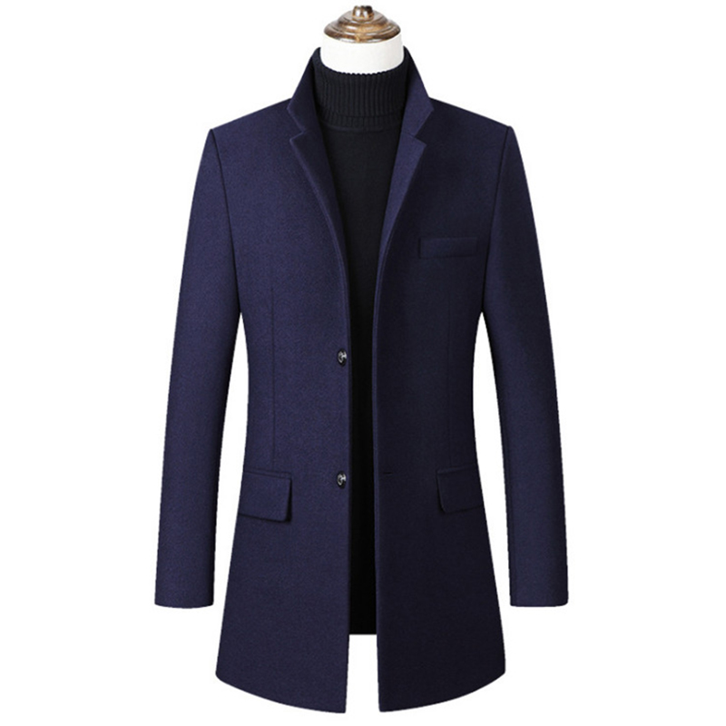 New arrivals Woolen Trench Coat Men Fashion Thick Overcoat Single Breasted Casual Men Wool Blends Coat,4 Color,M-4XL